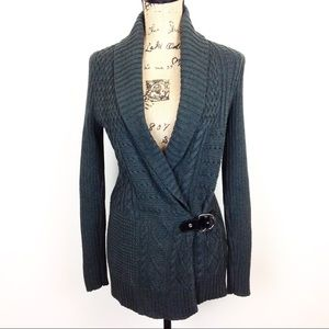 Lauren Shawl Collar Cable Knit Sweater N634 @&
